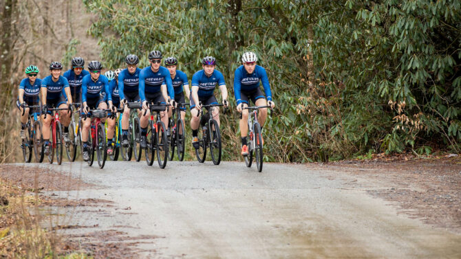 The Brevard College team does a group ride on one of the local gravel roads.